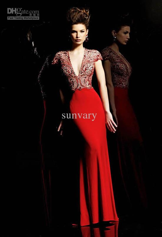 Wholesale Best Selling Sexy Mother Of The Bride Dress Sheath V-neck Cap Sleeves New Red Evening Dresses, Free shipping, $149.17-171.41/Piece | DHgate