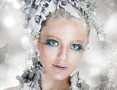 Sparkling Nieve De Hadas Maquillaje Con Flores De Hielo Fotos, Retratos, Imágenes Y Fotografía De Archivo Libres De Derecho. Pic 34043235.