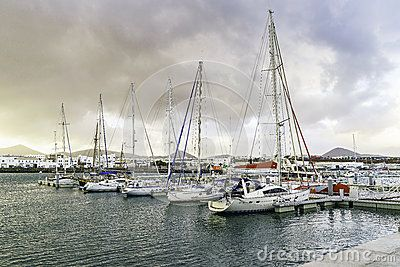 Yachts in the Marina of Puerto Calero in Lanzarote. Canary Islands , Spain.