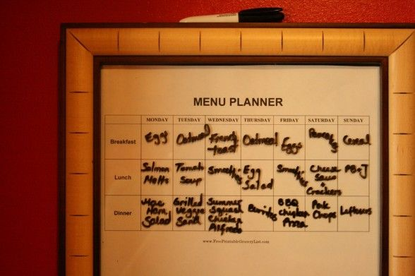 Dry Erase Menu Plan Display