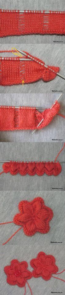 Knit Flowers....I can see great uses for this, the ends of a scarf of the base to a sweater hmmmm... the design wheels are turning. I've been looking for a pretty knitted flower! This pattern is perfect! Just  let  one  stitch  drop!