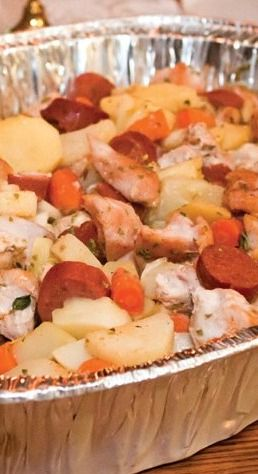 Amish Recipe for Hillbilly Jumble: This easy, hearty supper can be cooked on the stove, but has a wonderful flavor when grilled. Usually comes out just as yummy when quantities and ingredients are adjusted to fit what you have on hand.
