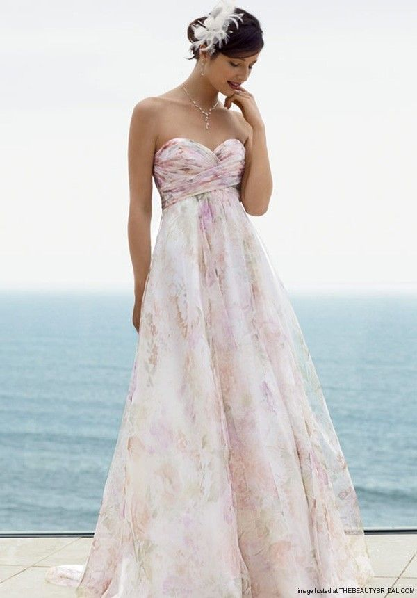 davids bridal floral | David's Bridal Strapless Printed Organza Soft A-Line Go…