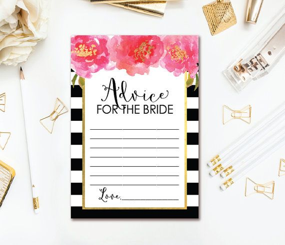 22 best bridal shower printables images on pinterest wedding floral advice for the bride to be card black white stripe bridal shower advice card black pink and gold bridal advice instant download forumfinder Choice Image