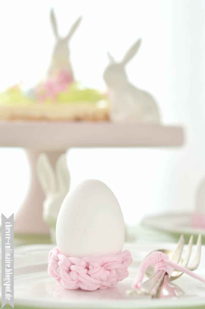 Chèvre culinaire: [DIY] Eierbecher aus Textilgarn - Last minute Idee für Ostern