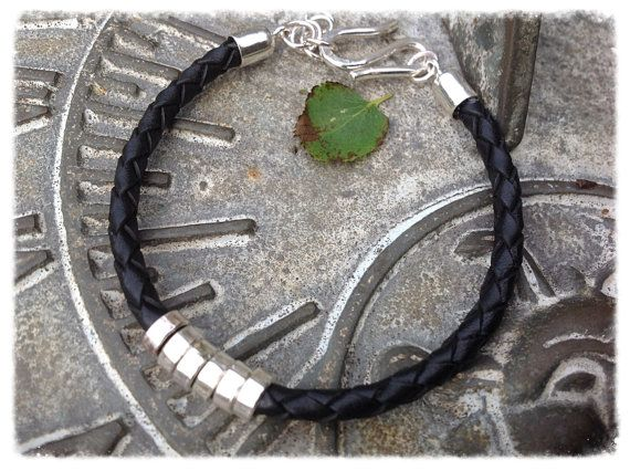 Sterling silver and leather unisex bracelet by HENjewellery