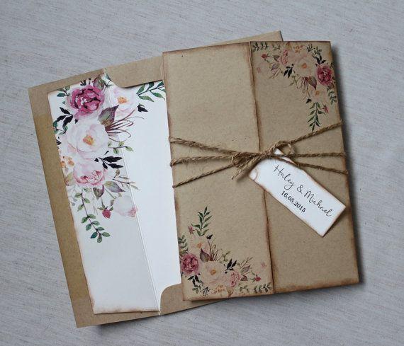 Floral Wedding Invitation. Rustic Wedding Invitation. Boho Wedding Invitation. Bohemian Wedding. Vintage. Country Wedding, Pink, Wat