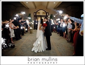 Hannah and Steven exit through sparklers at Governor's Club in Chapel Hill, NC - photo by Brian Mullins Photography - http://ncweddingministerblog.blogspot.com/2009/05/hannah-and-steven-allison-marry-may-2.html
