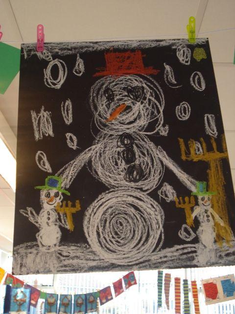 schrijfdans sneeuwman: cirkels