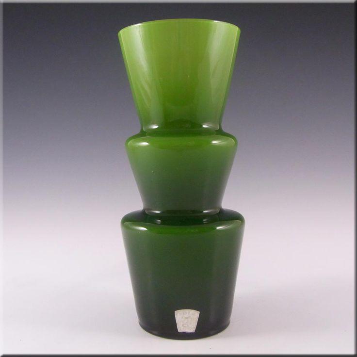 Lindshammar 1970's Swedish Green Hooped Glass Vase - £80.00