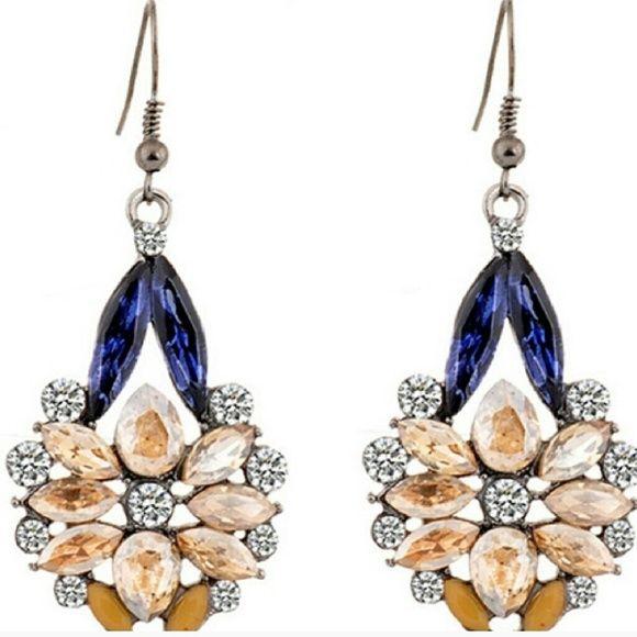 Nude Pendant Drop Earrings Gorge pendant drop earrings; beautiful nude, navy, and zirconia blend of gems. New! Jewelry Earrings