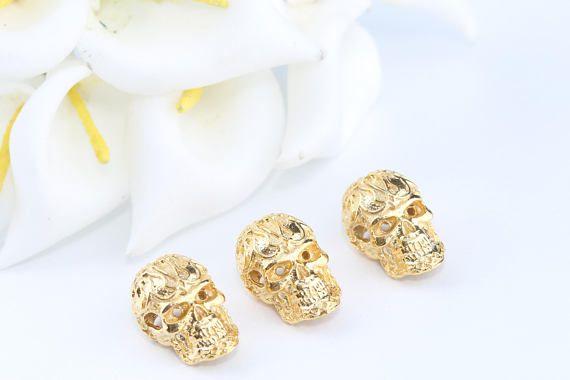Gold Plated Skull BeadSkull BeadSkull CharmSkull