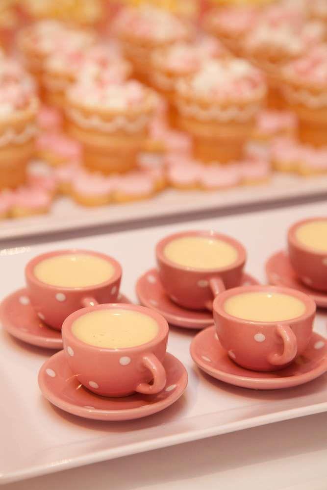 Alice in Wonderland 1st Birthday desserts (edible teacups & pudding) Eva's 7th Birthday | CatchMyParty.com