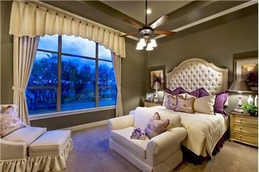 Love the headboard and seating and window treatment! The high ceilings are a must!