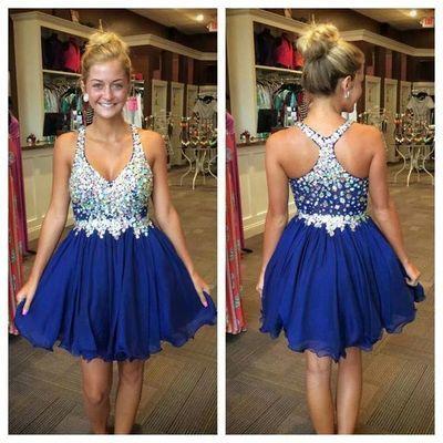 Royal blue homecoming dress, Rhinestone homecoming dress, short homecoming…