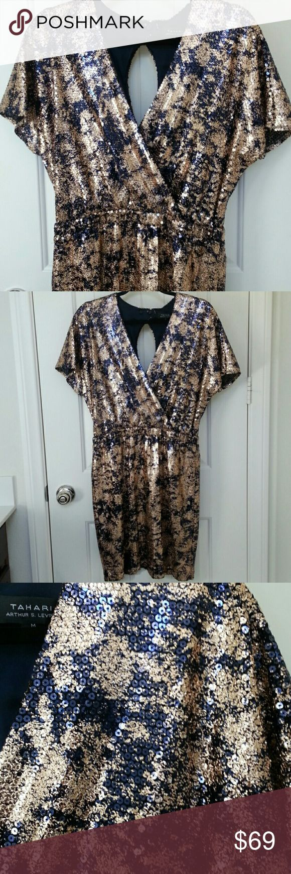 """Tahari Metallic Sequin Dress A stunning metallic sequin dress by Tahari.  Elastic waistband and two button closure at back. Fully lined. Brand new with tags. MEASUREMENTS: waist 30"""" length 37""""   97% Polyester 3% Elastane Tahari Dresses"""