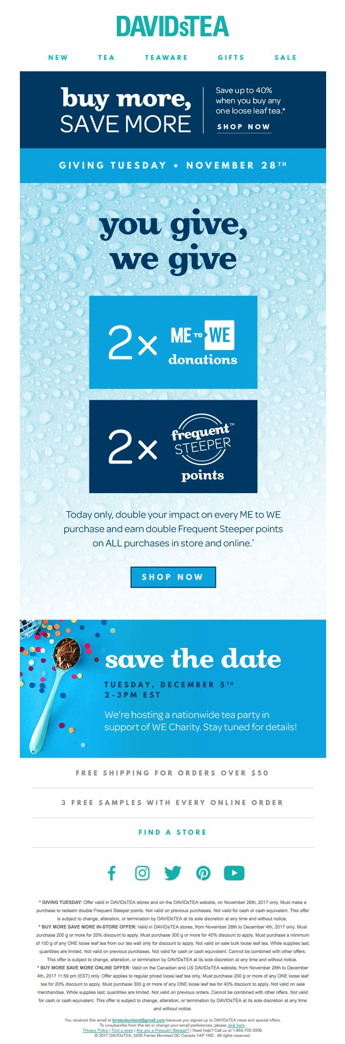 This bonus campaign from DAVIDsTEA puts their charitable partnership front and center.