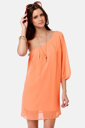 C'mon Get Happy One Shoulder Bright Peach DressLove it! $38 at Lulus.com