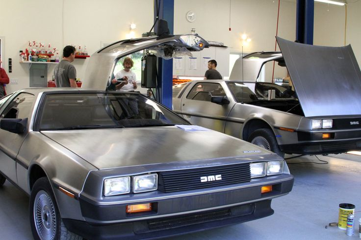 Members of the Pacific Northwest DeLorean Club attend a tech session in Forest Grove, Oregon