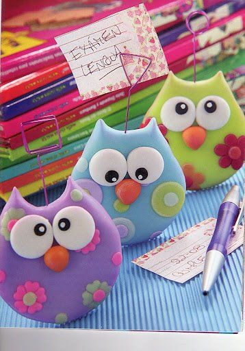 Cute little polymer clay owl photo clips