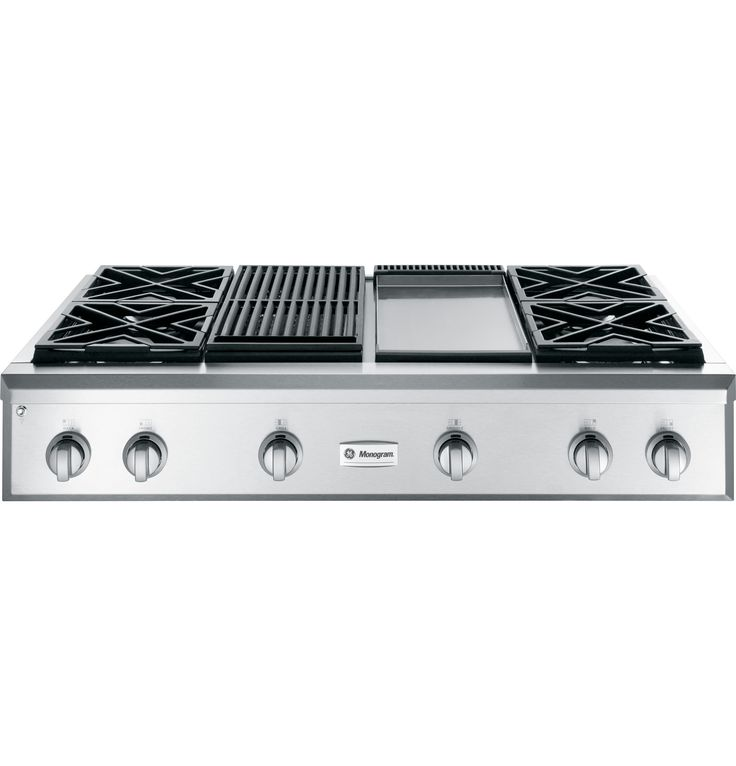 "I like the grates better on this one.   Images of GE Monogram ZGU484NGPSS 48"" Professional Gas Cooktop with 4 Burners, Grill, and Griddle (Natural Gas) 