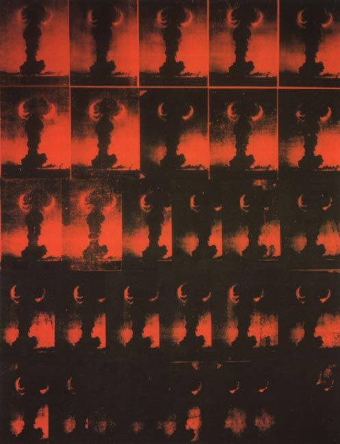 Andy Warhol, Atomic Bomb, 1965. Silk screen on canvas, 104 x 80-1/2 in.    abbeville.comAtoms Atmospher, Andy Worhal, Artpop Art, Atomic Bombs Andy'S Warhol, Andy Warhol Bombs Atomiqu Jpg, Atoms Bombs Andy Warhol, Atoms Art, Pop Atomica, D Andy Warhol