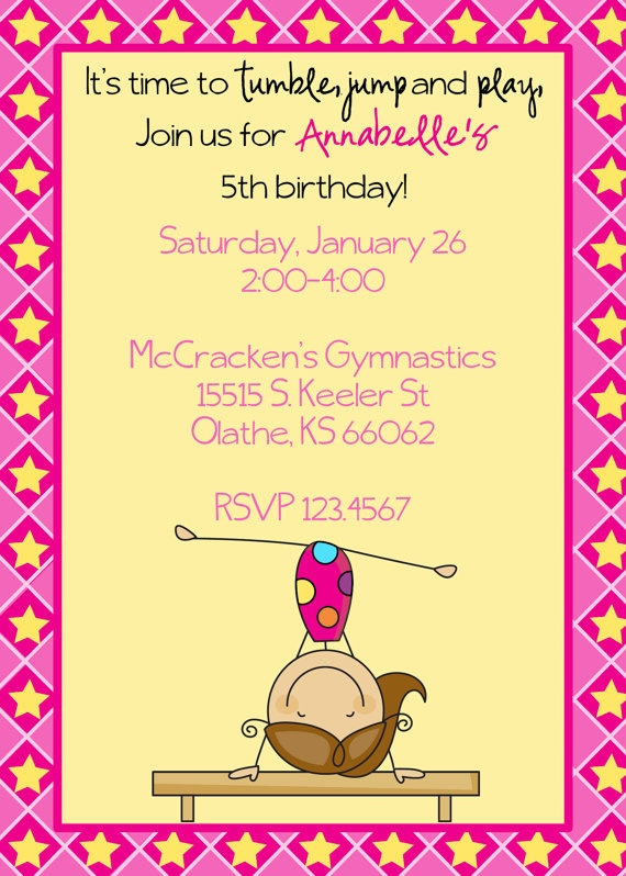 61 best mollys 5th birthday party images on pinterest gymnastics items similar to gymnastics birthday invitation on etsy stopboris Images