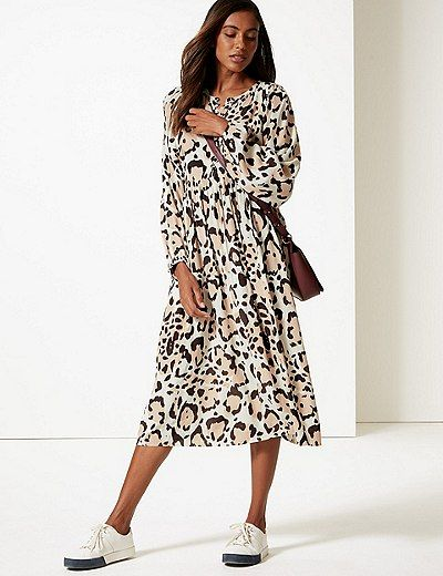 dc841edf3826d Animal Print Long Sleeve Tea Midi Dress