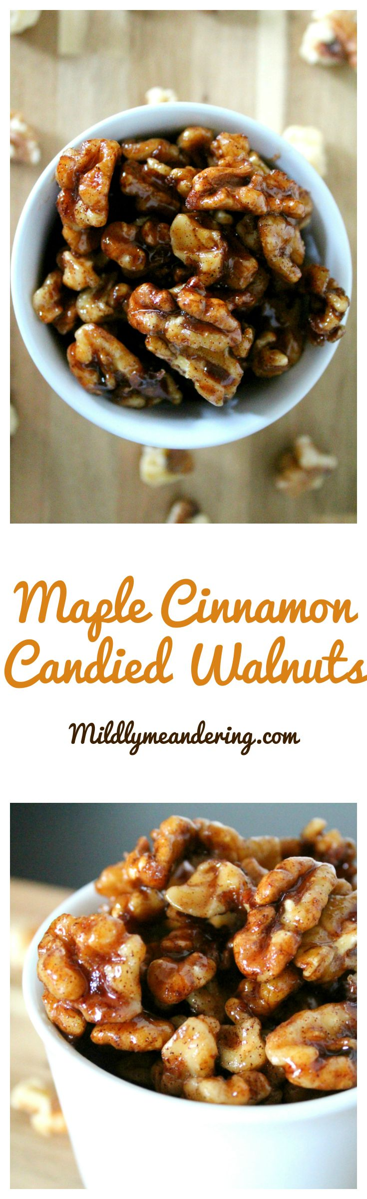 Maple Cinnamon Candied Walnuts - Mildly Meandering