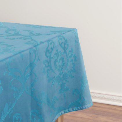 Vintage Modern Glam Turquoise Damask Tablecloth - lace gifts style diy unique special ideas
