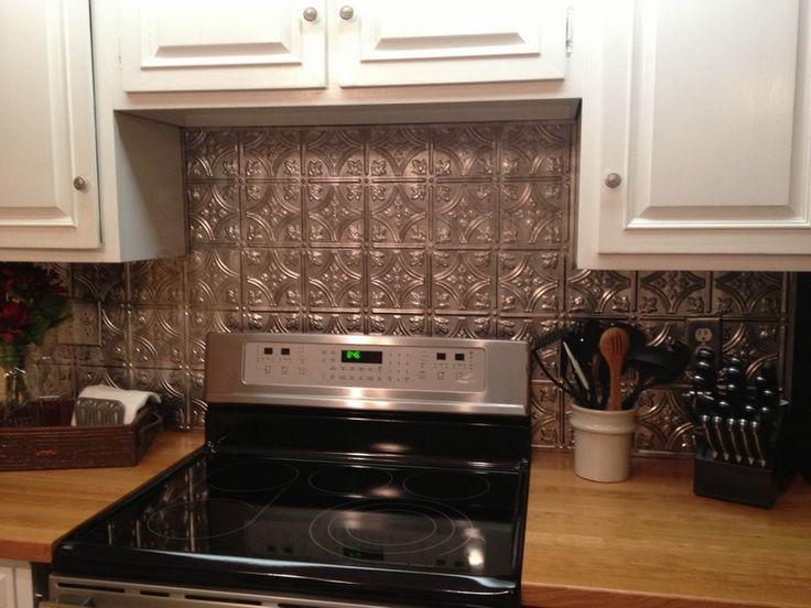 Kitchen: Fancy Kitchen Decoration Using White Wood Kitchen Cabinet  Including Dark Silver Black Tin Kitchen Backsplash And Light Oak Wood  Counter Tops, ...