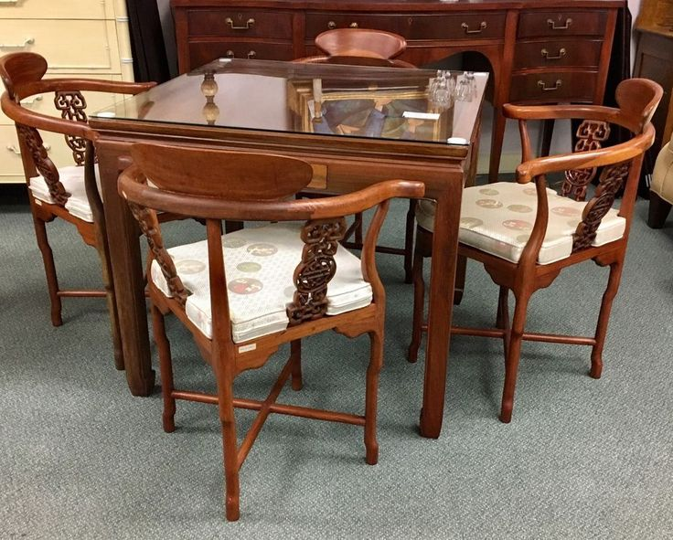 Mid Century Modern Asian Game Table & Matching Hand Carved Chairs 34 x 34 | Antiques, Periods & Styles, Mid-Century Modernism | eBay!