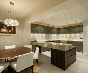 Ceiling Separation Distinction Photo Of Contemporary Luxury Modern Open Plan Stylish Beige Dining Room Kitchen