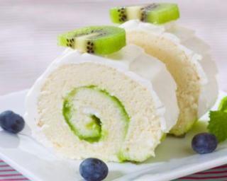 Gâteau roulé au kiwi et chocolat blanc