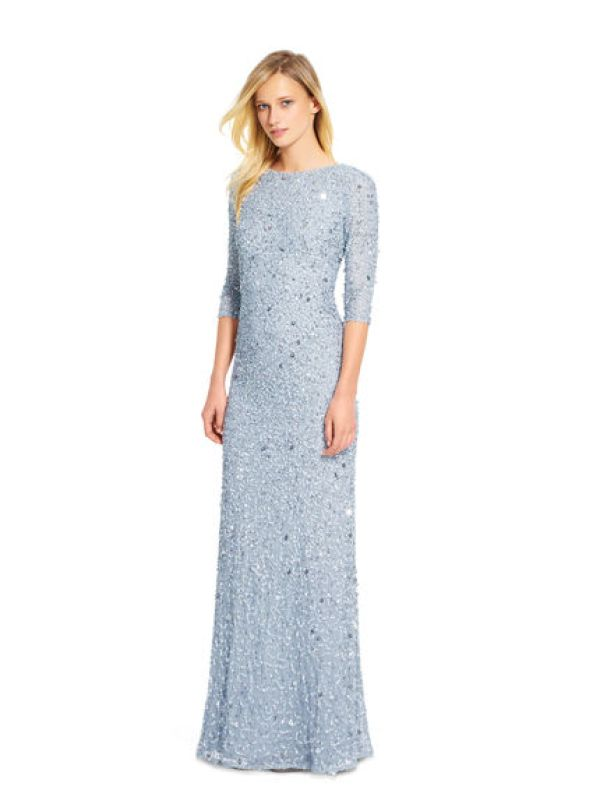 Soft blue scoop back sequin gown by Adrianna Papell: http://www.stylemepretty.com/2017/10/22/unique-maid-of-honor-dresses/