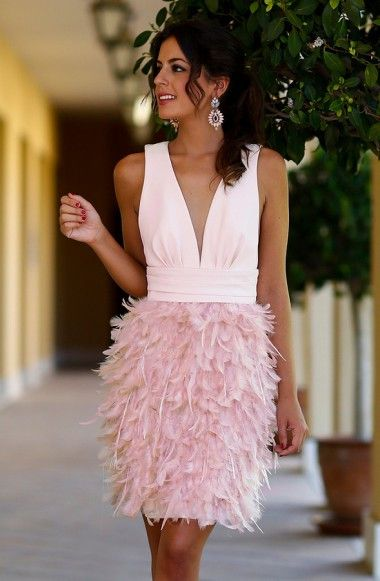 Sheath Deep V-Neck Above-Knee Pink Satin Feathers Homecoming Dress TR0192