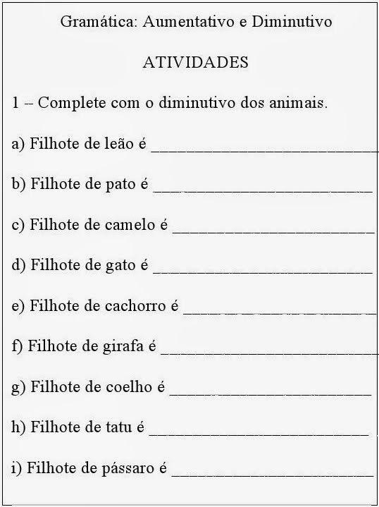 AUMENTATIVO/DIMINUTIVO