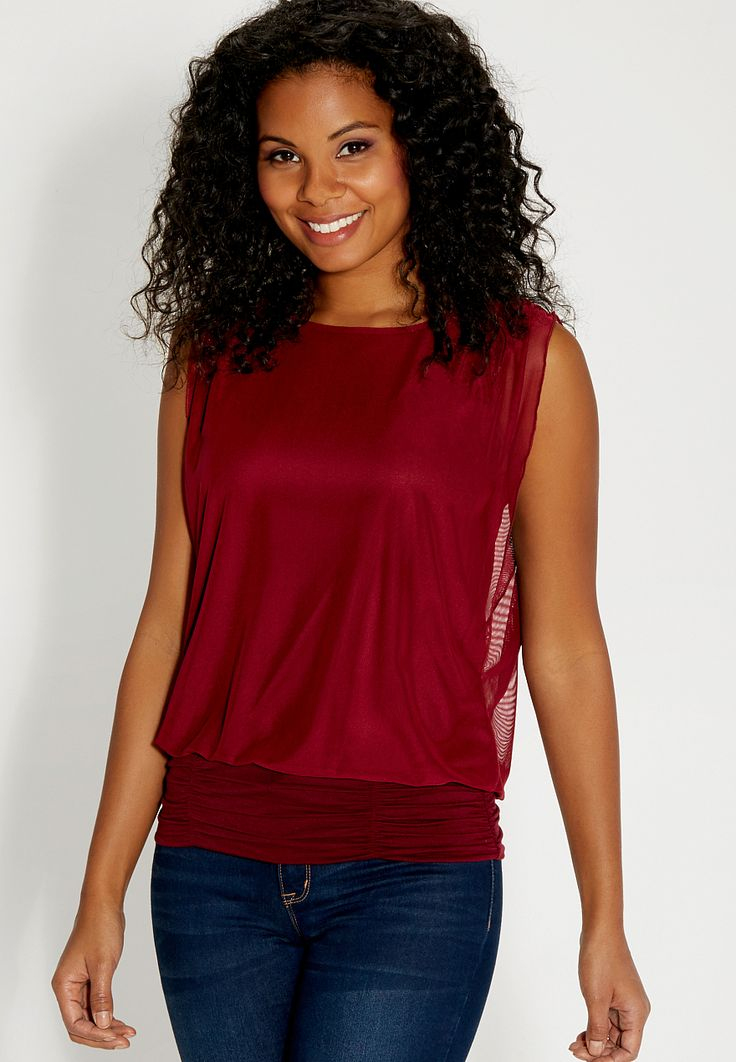 mesh tank with cinched bottom - #maurices