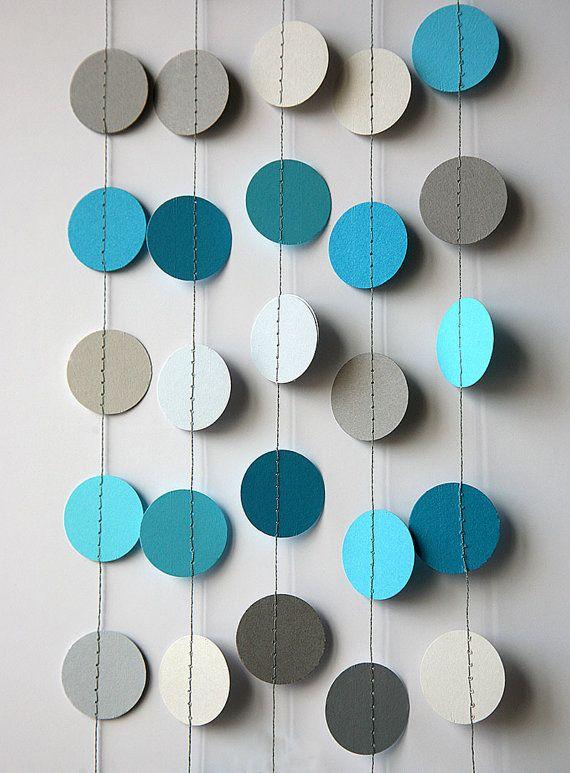 Blue gray garland Circle garland Blue grey by TransparentEsDecor