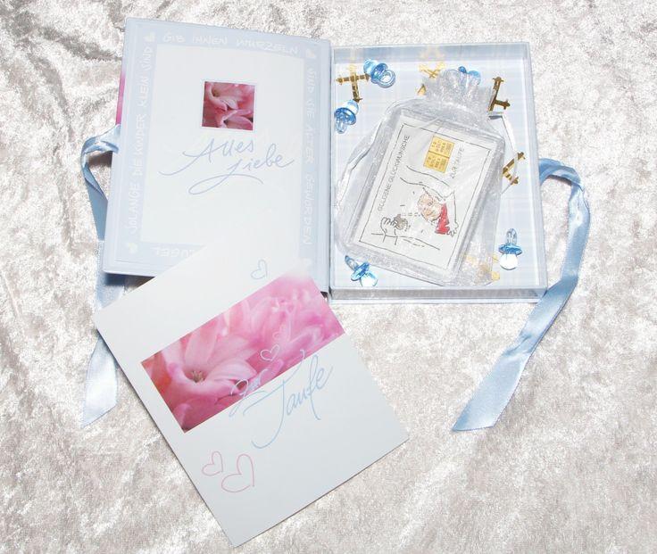 2g Gold zur Taufe eines Jungen in Geschenkbox mit Glückwunschkarte und Streudeko Kreuze & hellblaue Schnuller