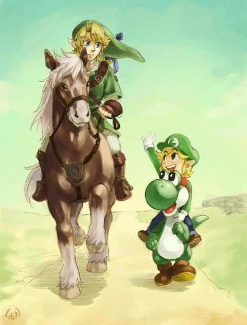 The Legend of Zelda and Mario series Crossover | Link, Epona, Toon Link, and Yoshi / Green costume 2 by Sii-SEN on deviantART