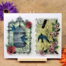 Bird Cage Flowers Scrapbook DIY photo cards account rubber stamp clear stamp transparent stamp 14x18cm KW692423(China (Mainland))