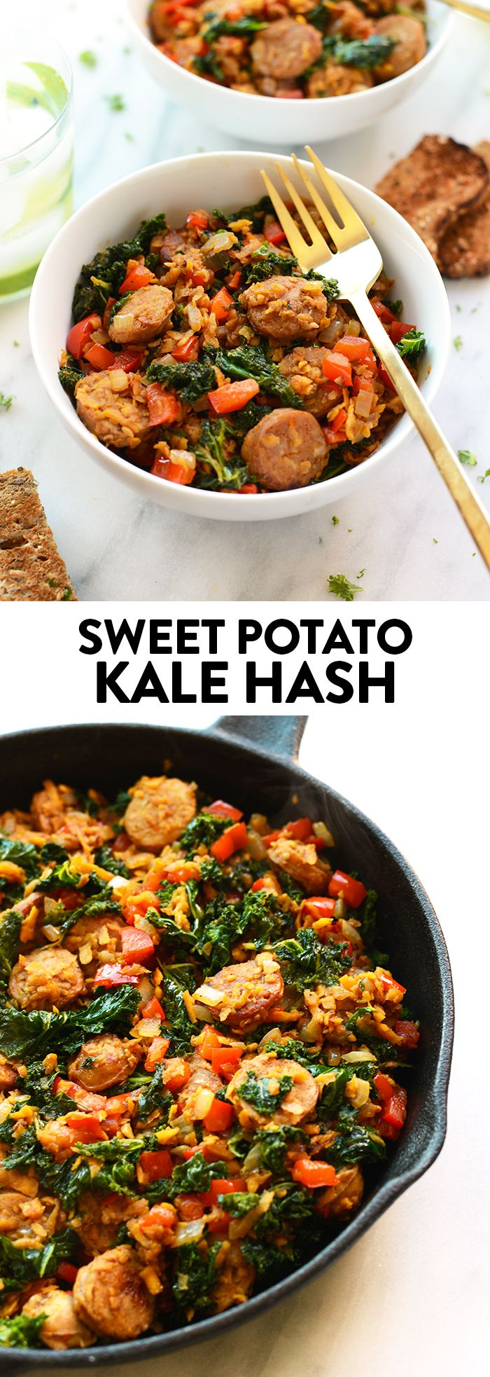 For breakfast, lunch, or dinner...this sweet potato kale hash is packed with tons of veggies and protein for a satisfying meal!