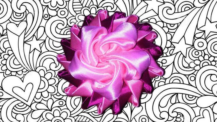 DIY Пышный цветок канзаши из атласной ленты