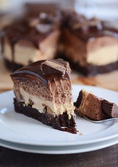 Peanut Butter and Chocolate Mousse Brownie Cake {Reese's PB Cake}