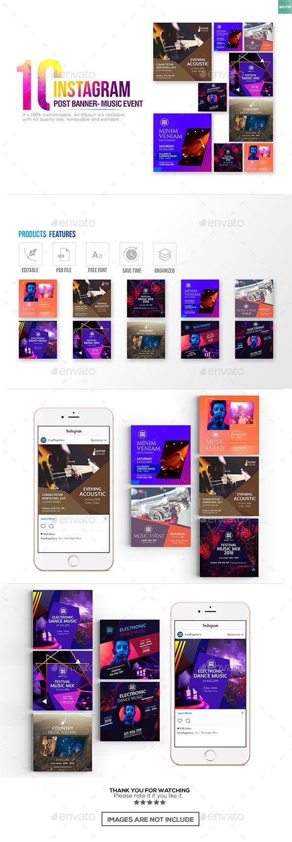 10 Instagram Post Banner - Music Event - Banners & Ads Web Elements Download here : https://graphicriver.net/item/10-instagram-post-banner-music-event/19776395?s_rank=122&ref=Al-fatih