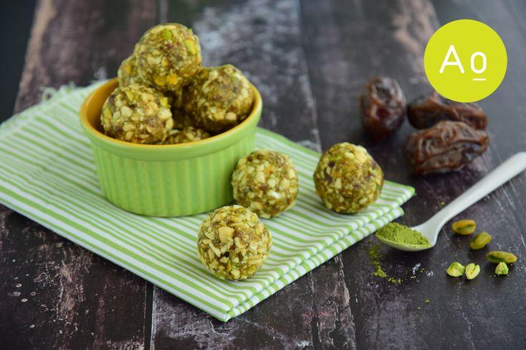 Matcha green tea date cashew coconut pistachio energy balls.