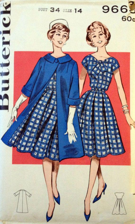 Butterick 9663 costura Vintage patrón de la por ItSeamsVintage