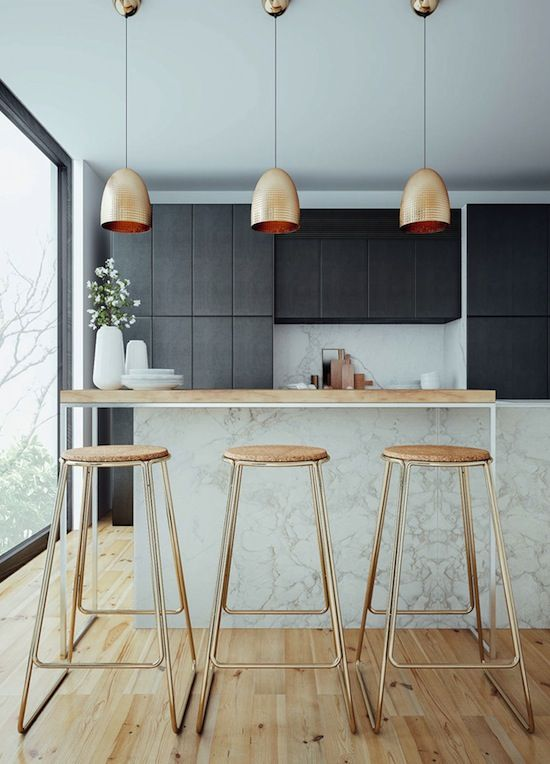 3D rendering of a chic kitchen with black cabinets, marble counters, brass lighting and counter stools #homedecor #interiordesign