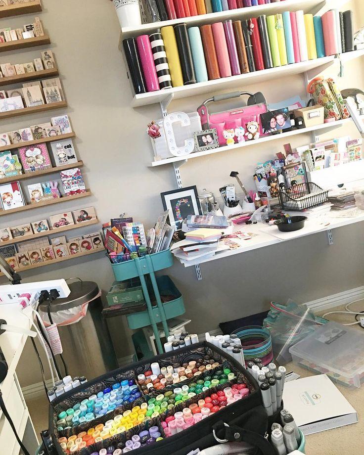 Yep. Still a mess. One corner at a time. #craftdesk #craftroom #craftspace #craftstudio #scrapspace #scraproom #scrapbookroom #rubberstamps #planners #filofax #franklincovey #franklincoveyplanner #franklincoveyaddicts